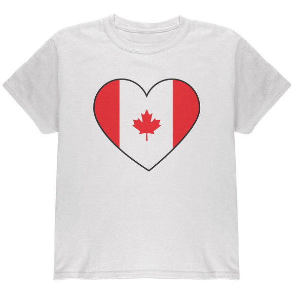Canada Day Canadian Flag Heart Youth T Shirt