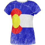Colorado Vintage Distressed State Flag All Over Womens T Shirt