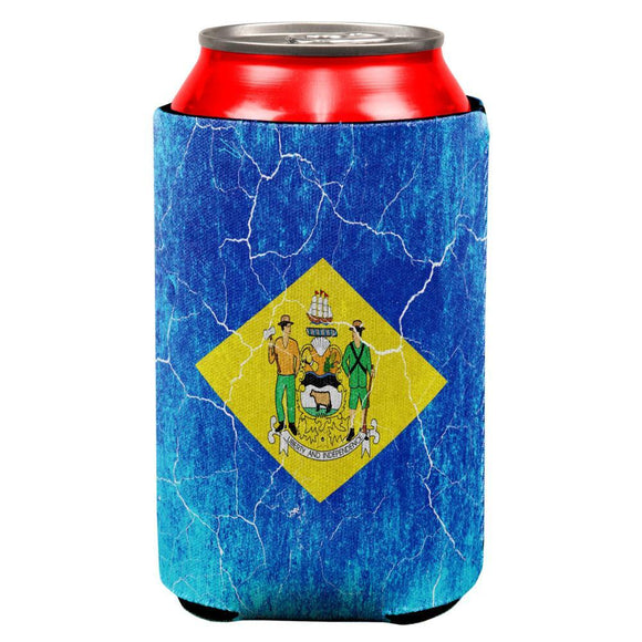Delaware Vintage Distressed State Flag All Over Can Cooler