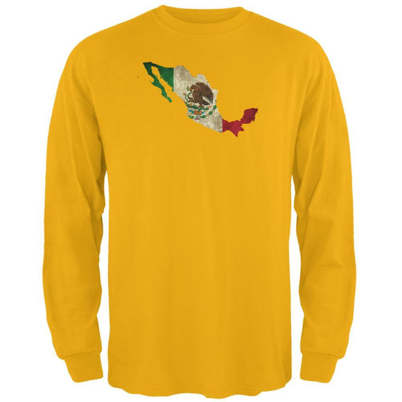 Cinco de Mayo Mexican Flag Mexico Silhouette Mens Long Sleeve T Shirt