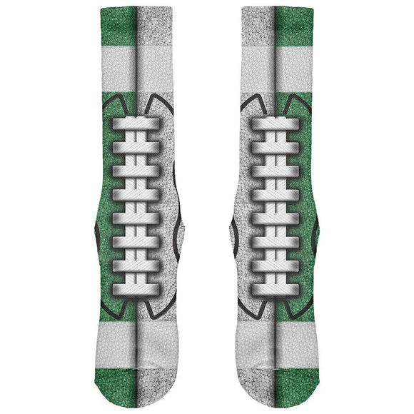 Fantasy Football Team Green and White All Over Soft Socks