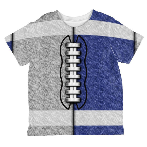 Fantasy Football Team Grey and Blue All Over Toddler T Shirt