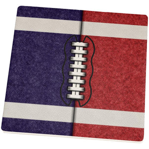 Fantasy Football Team Navy and Red Set of 4 Square Sandstone Coasters