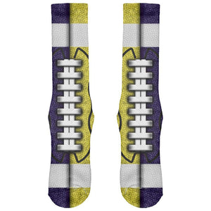 Fantasy Football Team Navy and Yellow All Over Soft Socks