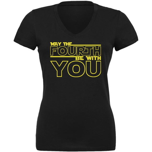 May The Fourth Be With You Juniors V-Neck T Shirt