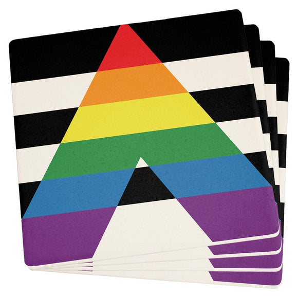 LGBT Straight Ally Pride Flag Set of 4 Square Sandstone Coasters