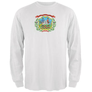 Born and Raised West Virginia State Flag Mens Long Sleeve T Shirt