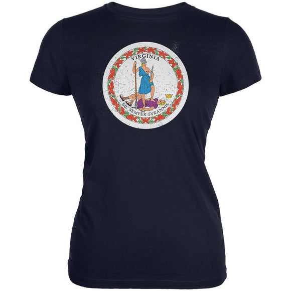 Born and Raised Virginia State Flag Juniors Soft T Shirt
