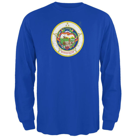 Born and Raised Minnesota State Flag Mens Long Sleeve T Shirt