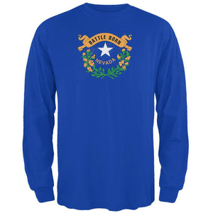 Born and Raised Nevada State Flag Mens Long Sleeve T Shirt