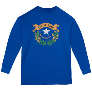 Born and Raised Nevada State Flag Youth Long Sleeve T Shirt