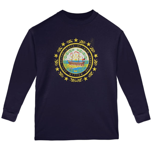 Born and Raised New Hampshire State Flag Youth Long Sleeve T Shirt