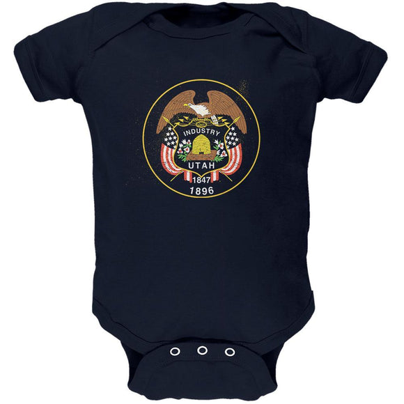 Born and Raised Utah State Flag Soft Baby One Piece