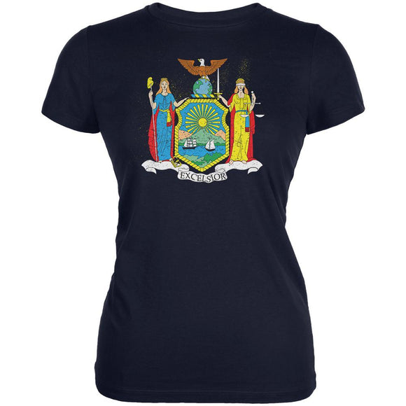 Born and Raised New York State Flag Juniors Soft T Shirt