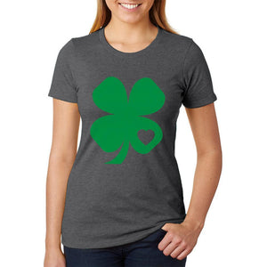St. Patricks Day Shamrock Heart Womens Soft Heather T Shirt