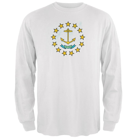 Born and Raised Rhode Island State Flag Mens Long Sleeve T Shirt