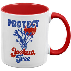 National Park Retro 70s Landscape Protect Joshua Tree Red Handle Coffee Mug