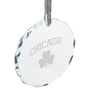 St. Patricks Day Chicago Shamrock Etched Round Crystal Ornament