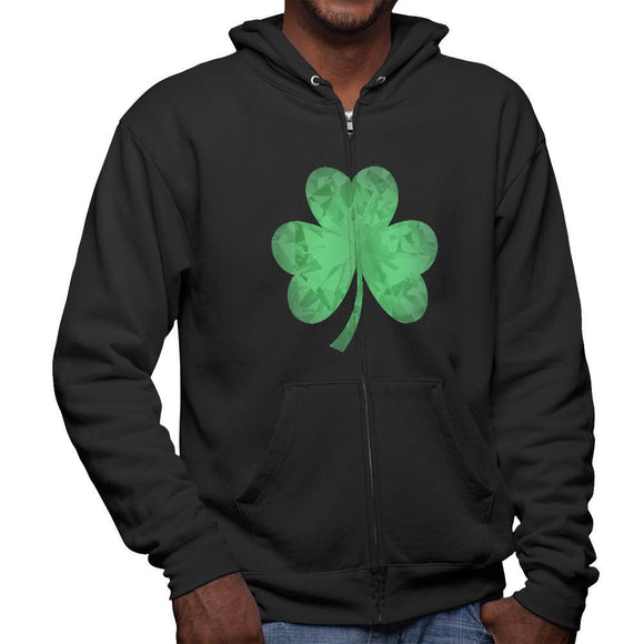 St. Patricks Day Jeweled Shamrock Mens Full Zip Hoodie