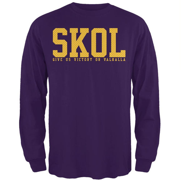 Vikings Skol Give Us Victory or Valhalla Mens Long Sleeve T Shirt