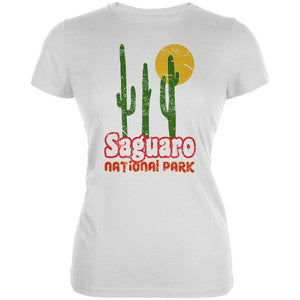 National Park Retro 70s Landscape Saguaro Juniors Soft T Shirt