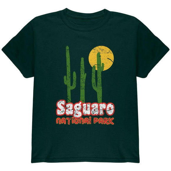 National Park Retro 70s Landscape Saguaro Youth T Shirt