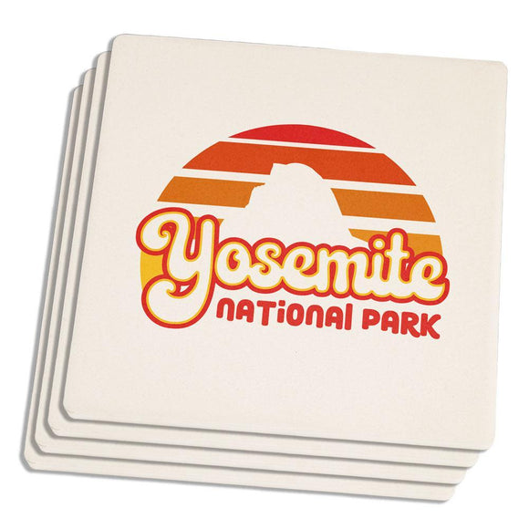 National Park Retro 70s Sunset Yosemite Set of 4 Square Sandstone Coasters