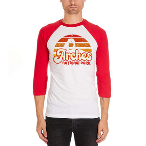 National Park Retro 70s Sunset Arches Mens Soft Raglan T Shirt