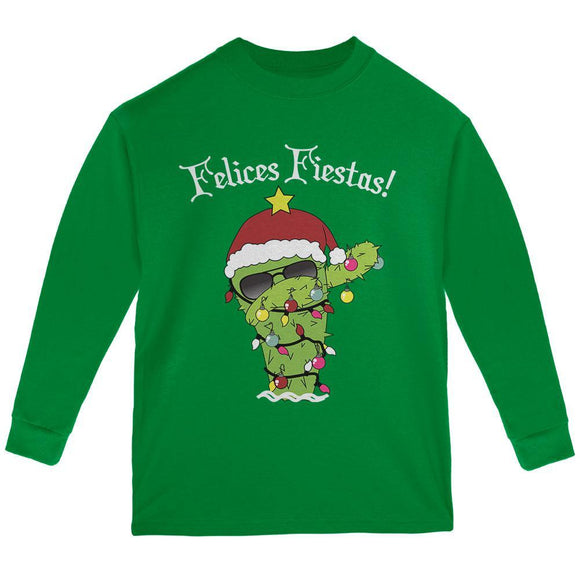 Christmas Dabbing Cactus Felices Fiestas Happy Holidays Youth Long Sleeve T Shirt