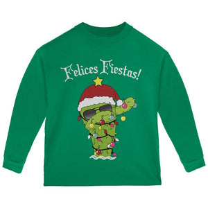 Christmas Dabbing Cactus Felices Fiestas Happy Holidays Toddler Long Sleeve T Shirt