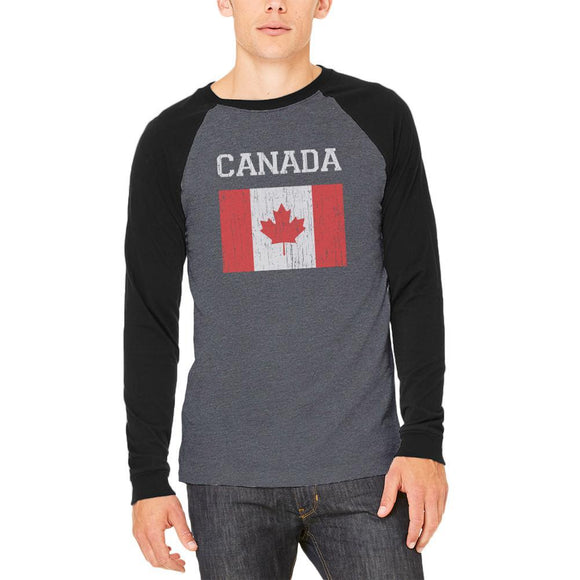 World Cup Distressed Flag Canada Adult Long Sleeve Raglan T-Shirt