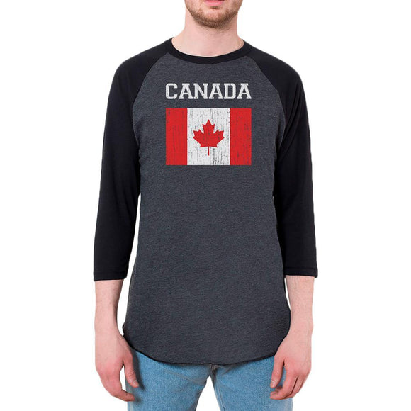 World Cup Distressed Flag Canada Mens Raglan T Shirt