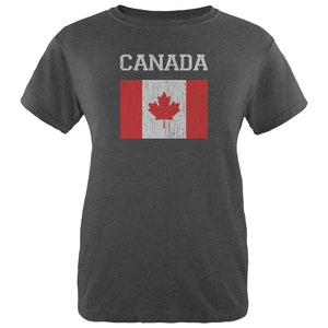 World Cup Distressed Flag Canada Womens Soft Heather T Shirt