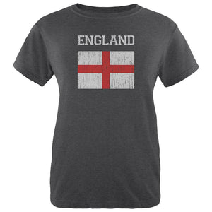 World Cup Distressed Flag England Womens Soft Heather T Shirt