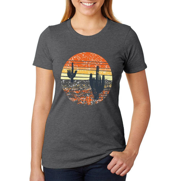 Vintage Cactus Sunset Womens Soft Heather T Shirt