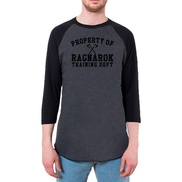 Viking Property of Ragnarok Training Department Mens Raglan T Shirt