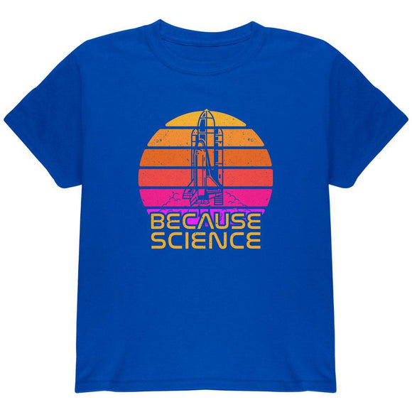 Because Science Space Rocket Retro Sunrise Sun 80s Youth T Shirt