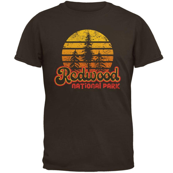 National Park Retro 70s Sunset Redwood Mens T Shirt