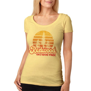 National Park Retro 70s Sunset Redwood Womens Soft Scoop T Shirt