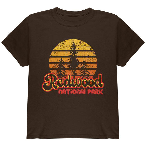 National Park Retro 70s Sunset Redwood Youth T Shirt