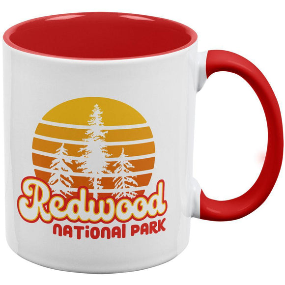 National Park Retro 70s Sunset Redwood Red Handle Coffee Mug