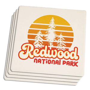 National Park Retro 70s Sunset Redwood Set of 4 Sandstone Coasters