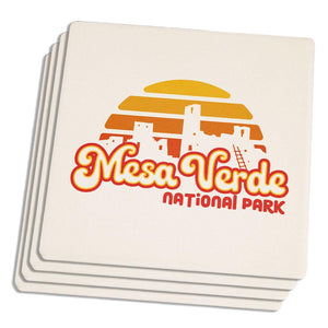 National Park Retro 70s Sunset Mesa Verde Set of 4 Sandstone Coasters