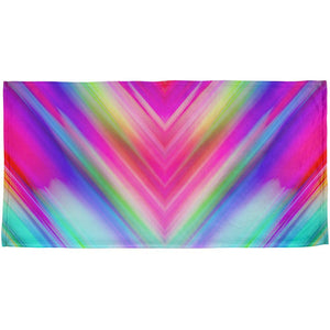 Mirrored Light Beams Pastel Rainbow All Over Beach Towel