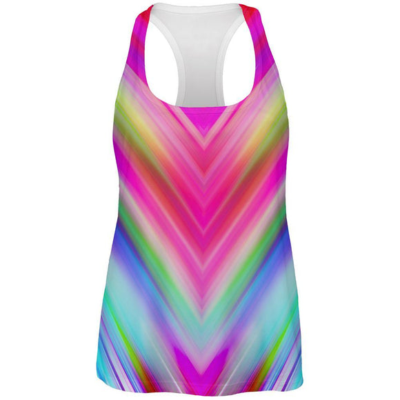 Mirrored Light Beams Pastel Rainbow All Over Womens Work Out Tank Top
