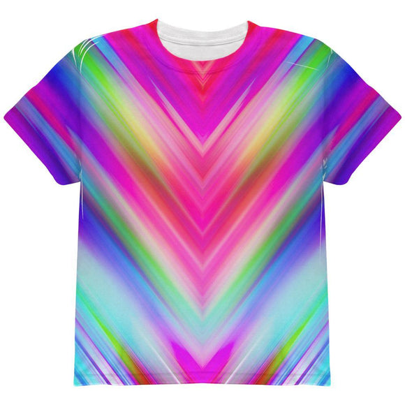 Mirrored Light Beams Pastel Rainbow All Over Youth T Shirt