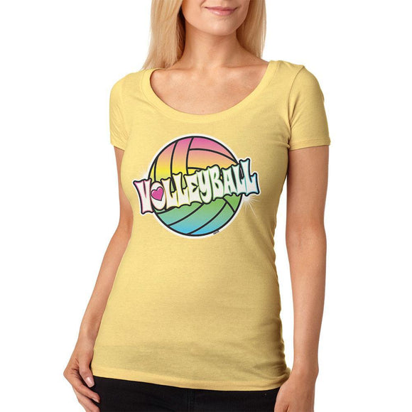 Rainbow Volleyball Neon Womens Soft Scoop T Shirt