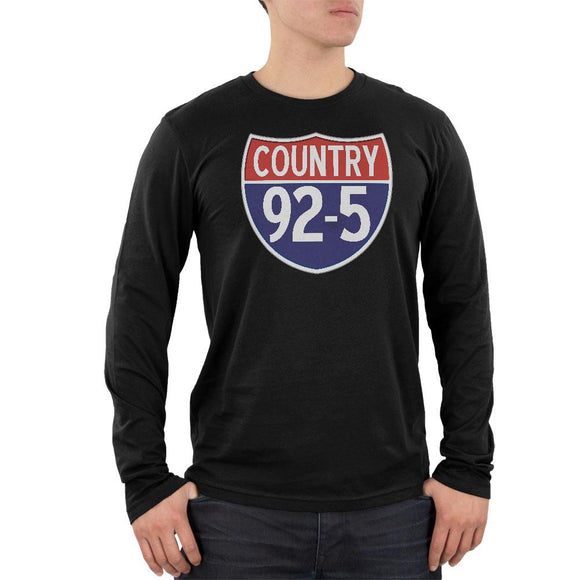 iHeartRadio Country 92-5 Logo Mens Long Sleeve T Shirt Black