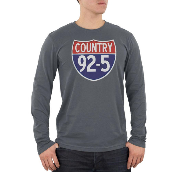 iHeartRadio Country 92-5 Logo Mens Long Sleeve T Shirt Grey