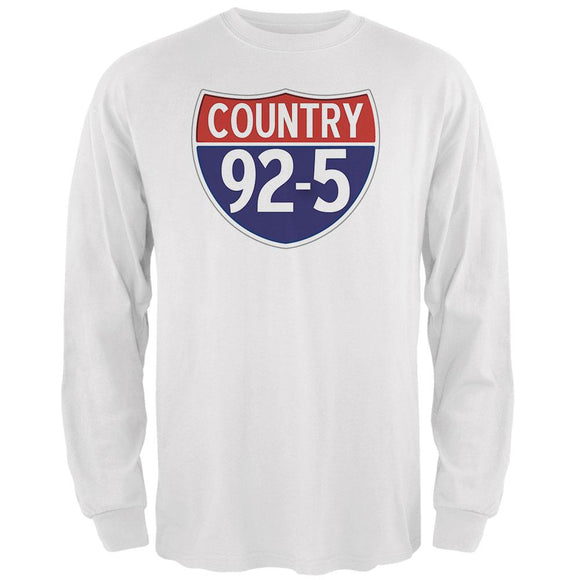 iHeartRadio Country 92-5 Logo Mens Long Sleeve T Shirt White